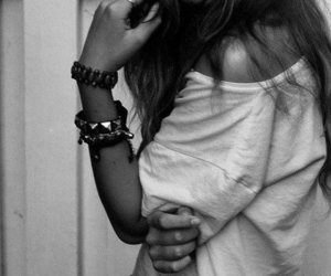 black and white, fashion, and alone image