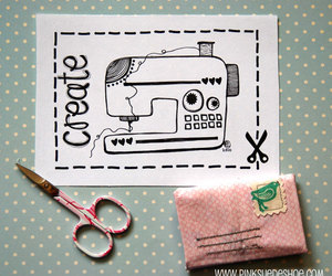 pink, sewing machine, and scissors image