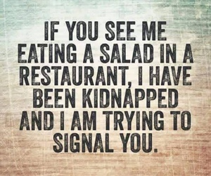 funny, salad, and restaurant image