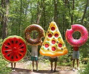 beach, friends, and donut image