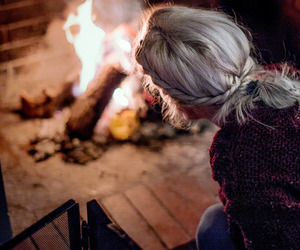 blonde hair, fire, and fireplace image