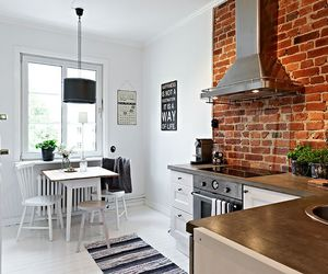 kitchen, brick, and home image