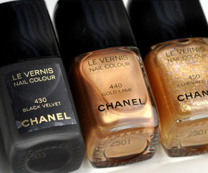 chanel, nails, and gold image