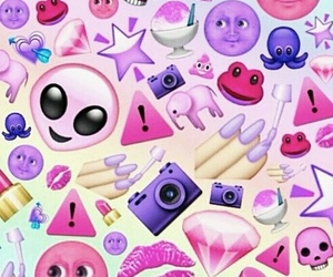 pink, emoji, and wallpaper image