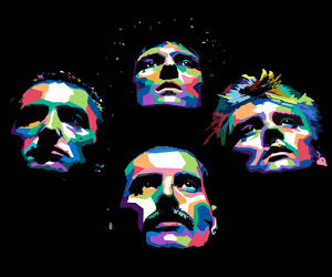 band, color, and Freddie Mercury image