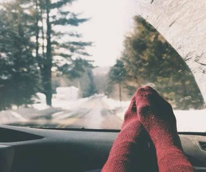 winter, socks, and snow image