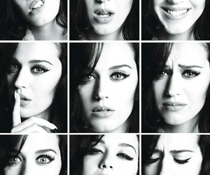 katy perry and black and white image