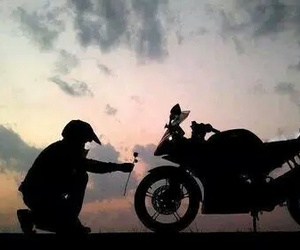 biker and motorcycle image