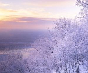snow, winter, and sunrise image
