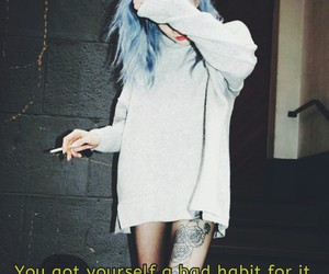blue hair, cigarette, and dark image