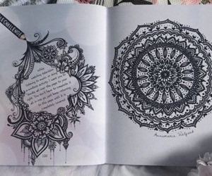 black and white, draw, and mandala image