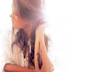tattoo, girl, and feather image