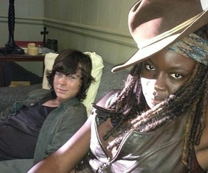 the walking dead, michonne, and chandler riggs image