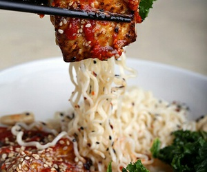 food, noodles, and tofu image