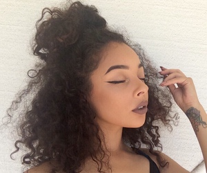 curly, eyeliner, and hair image