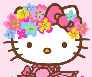 hello kitty, flowers, and pink image