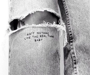 jeans, black and white, and quote image