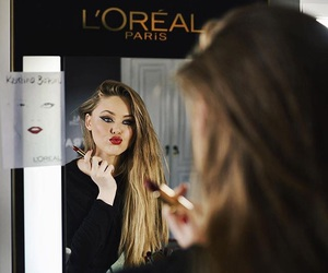 advertisement, face, and mirror image