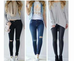 fashion, ripped jean, and goals image