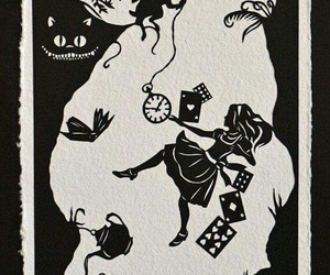 alice in wonderland, art, and black and white image