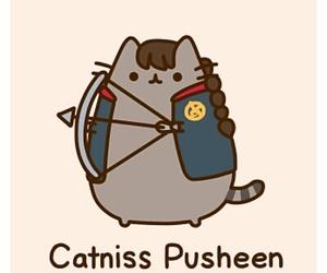 pusheen, cat, and katniss image