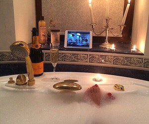 luxury, bath, and champagne image