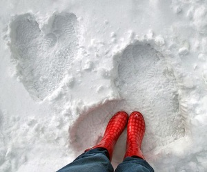 snow, heart, and boots image