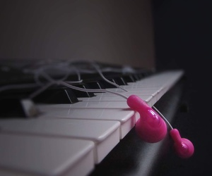 music, pink headphones, and piano image