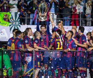 champions league, fc barcelona, and campeones image