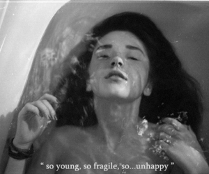 unhappy, water, and young image