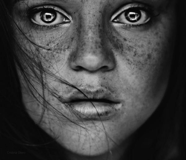 Black and white eyes face frecklse girl inspiring picture on favim com