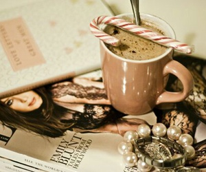 coffee, magazine, and candy image