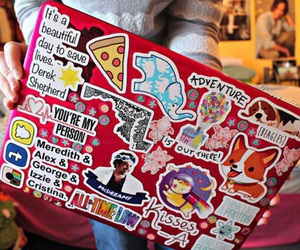 laptop, stickers, and tumblr quality image