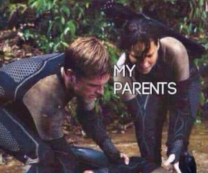 mockingjay, peeta, and katniss image