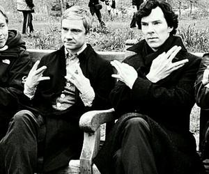 sherlock, benedict cumberbatch, and Martin Freeman image