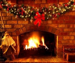 christmas, fire, and fireplace image