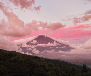 pink, sky, and mountains image
