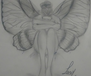 butterfly, pencil, and wings image