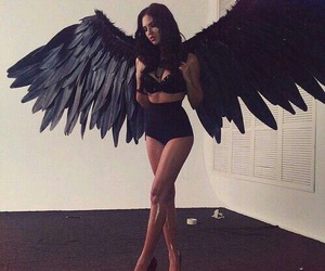 angel, black, and wings image