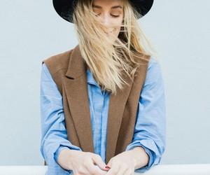 black hat, blonde girl, and cardigan image