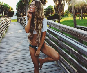 bikini, blonde girl, and smiling girl image