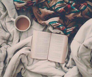 book, coffee, and cold image