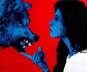 wolf, woman. red, and black and blue. image