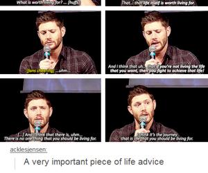 advice, Jensen Ackles, and supernatural image
