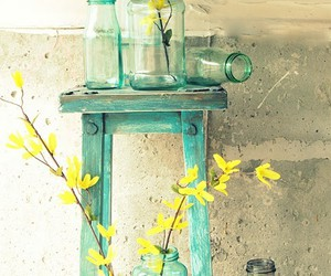 flowers, yellow, and glass image