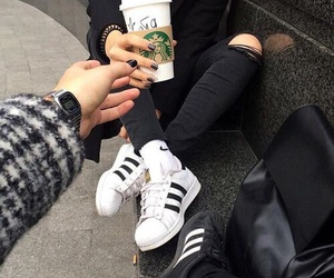 adidas, starbucks, and black image