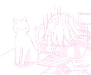 cat, homework, and tired image