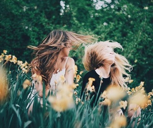 flowers, friends, and girls image