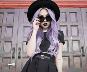 hair, black, and purple image