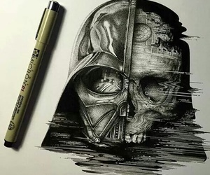 art, darth vader, and skull image